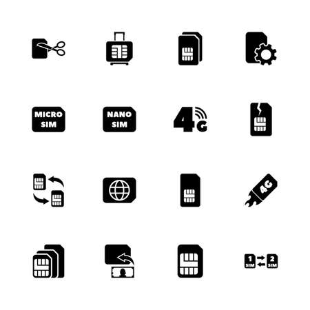 Sim Cards icons - Expand to any size - Change to any colour. Flat Vector Icons - Black Illustration on White Background.  イラスト・ベクター素材