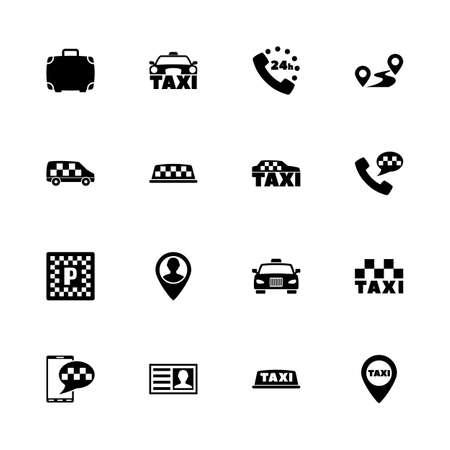 -任意のサイズに拡大 - タクシー アイコンが任意の色に変化します。フラット ベクトル アイコン - 白い背景の黒い図。