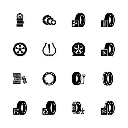 Tires icons - Expand to any size - Change to any colour. Flat Vector Icons - Black Illustration on White Background.