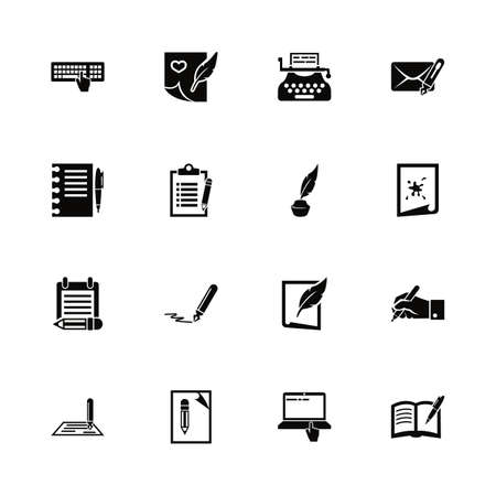 Writing icons - Expand to any size - Change to any colour. Flat Vector Icons - Black Illustration on White Background.