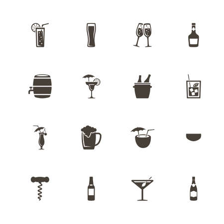 Alcoholic icons. Perfect black pictogram on white background.