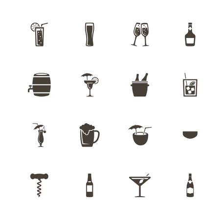 Alcoholic icons. Perfect black pictogram on white background.