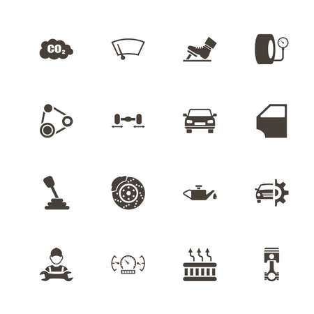 Auto icons. Perfect black pictogram on white background. Flat simple vector icon. Illustration