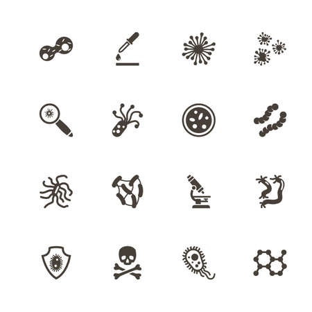 Bacteria icons. Perfect black pictogram on white background. Flat simple vector icon. Иллюстрация
