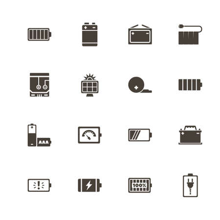 Battery icons. Perfect black pictogram on white background.