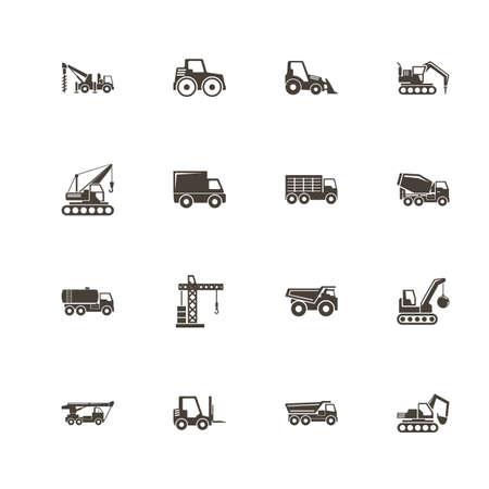 Bouw voertuigen pictogrammen. Perfect zwart pictogram op witte achtergrond. Platte eenvoudige vector pictogram. Stock Illustratie
