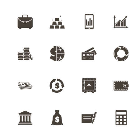 Financical icons. Perfect black pictogram on white background. Flat simple vector icon.