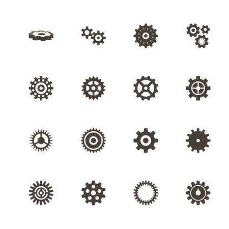 Gear icons. Perfect black pictogram on white background. Flat simple vector icon.