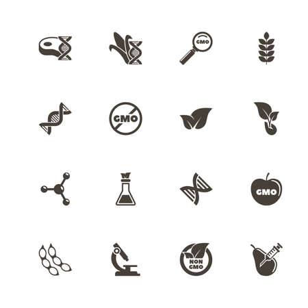Gmo icons. Perfect black pictogram on white background. Flat simple vector icon. Stock Vector - 92950154