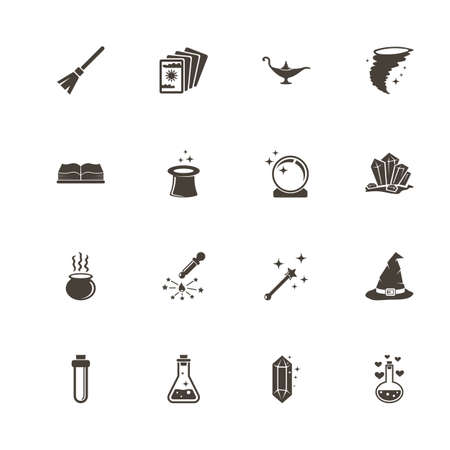 Magic icons. Perfect black pictogram on white background. Flat simple vector icon.
