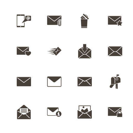 Mail icons. Perfect black pictogram on white background. Flat simple vector icon. Çizim