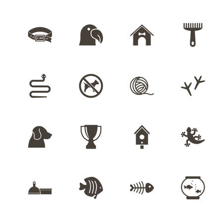 Pets icons. Perfect black pictogram on white background. Flat simple vector icon.