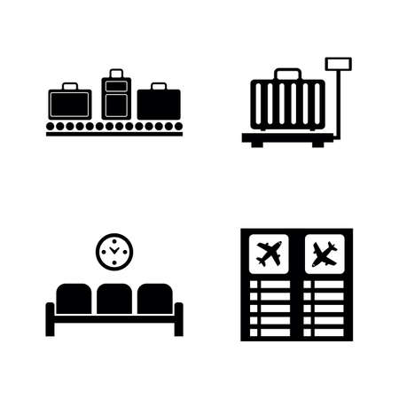 Airport Terminal. Simple Related Vector Icons Set for Video, Mobile Apps, Web Sites, Print Projects and Your Design. Black Flat Illustration on White Background. Vettoriali