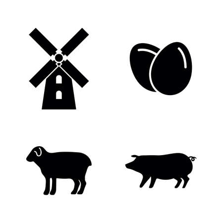 Farming. Simple Related Vector Icons Set for Video, Mobile Apps, Web Sites, Print Projects and Your Design. Black Flat Illustration on White Background.