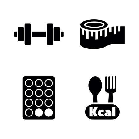 Diet and Fitness. Simple Related Vector Icons Set for Video, Mobile Apps, Web Sites, Print Projects and Your Design. Black Flat Illustration on White Background.