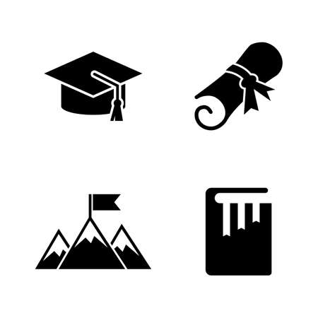 College and Higher Education. Simple Related Vector Icons Set for Video, Mobile Apps, Web Sites, Print Projects and Your Design. Black Flat Illustration on White Background.