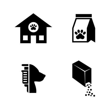 Animal Shelter. Simple Related Vector Icons Set for Video, Mobile Apps, Web Sites, Print Projects and Your Design. Black Flat Illustration on White Background. 写真素材