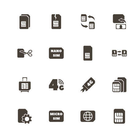 Sim Cards icons. Perfect black pictogram on white background. Flat simple vector icon. Illustration