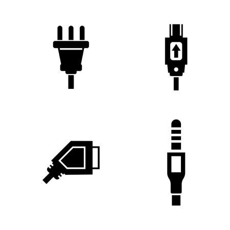 Plug. Simple Related Vector Icons Set for Video, Mobile Apps, Web Sites, Print Projects and Your Design. Black Flat Illustration on White Background.