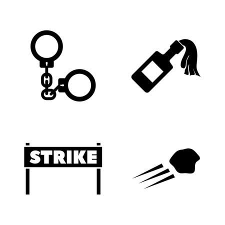 Strike. Simple Related Vector Icons Set for Video, Mobile Apps, Web Sites, Print Projects and Your Design. Black Flat Illustration on White Background.