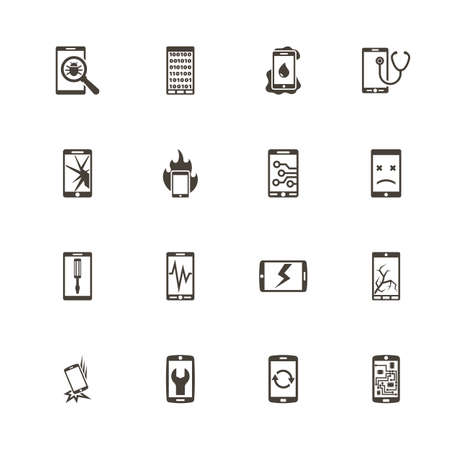 Smartphone Repair icons. Perfect black pictogram on white background. Flat simple vector icon.