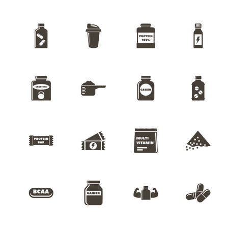 Sport Supplements icons. Perfect black pictogram on white background. Flat simple vector icon.