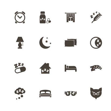 Sleep icons. Perfect black pictogram on white background. Flat simple vector icon.