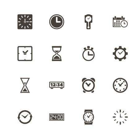Time icons. Perfect black pictograph on white background.