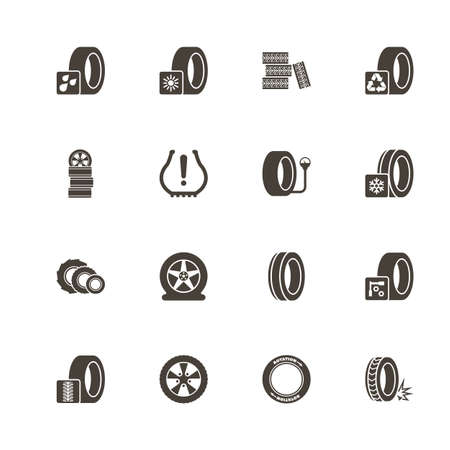 Tires icons. Perfect black pictogram on white background. Flat simple vector icon.