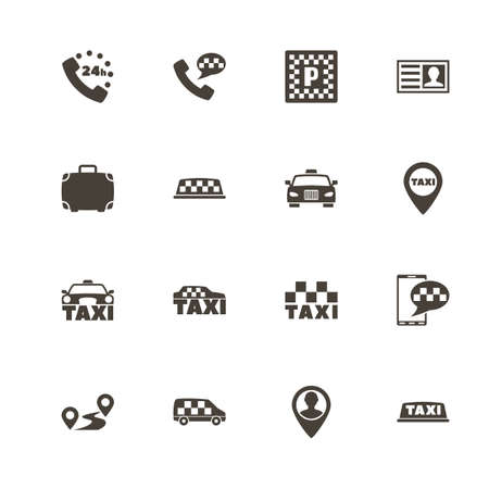 Taxi icons. Perfect black pictograph on white background.