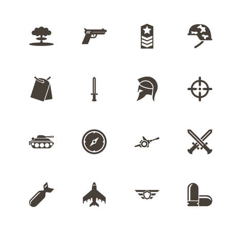 War icons. Perfect black pictogram on white background. Flat simple vector icon.