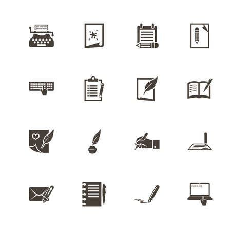 Writing icons. Perfect black pictogram on white background. Flat simple vector icon.
