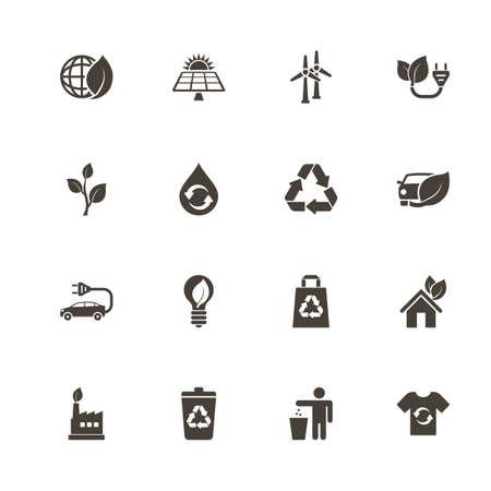 Ökologische Ikonen . Helles schwarzes Piktogramm auf weißem Hintergrund . Flache einfache Vektor-Symbol Vektorgrafik