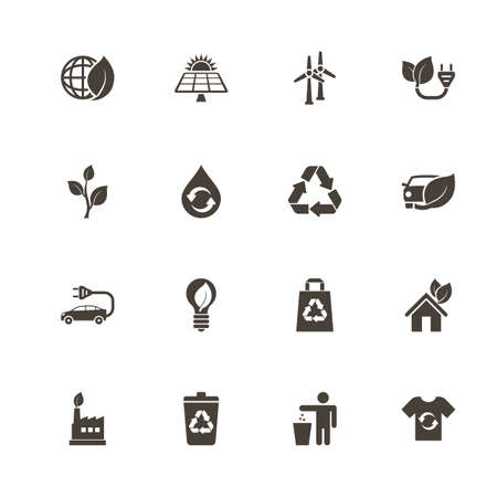 Ecological icons. Perfect black pictograph on white background. Flat simple vector icon.