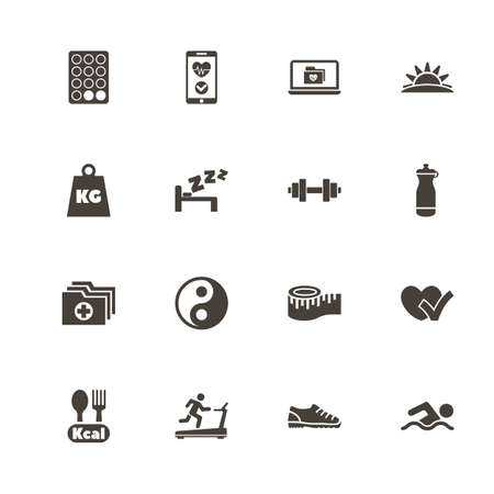 Healthy Living icons. Perfect black pictograph on white background. Flat simple vector icon.