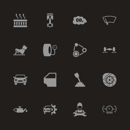 Auto icons - Gray symbol on black background. Simple illustration. Flat Vector Icon.