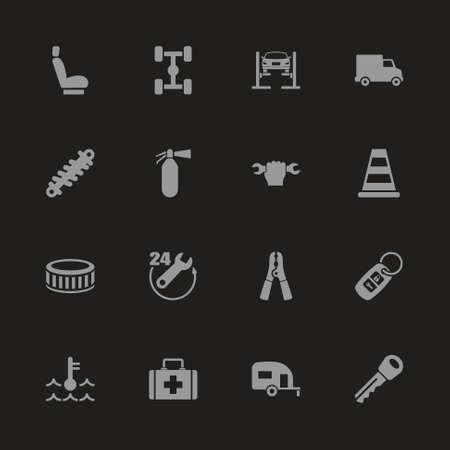 Car Repair icons - Gray symbol on black background. Simple illustration. Flat Vector Icon. 일러스트