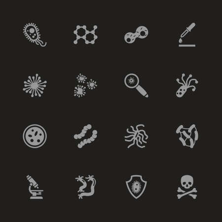 Bacteria icons - Gray symbol on black background.