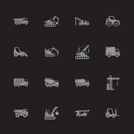Construction vehicles icons - gray symbol on black background. Simple illustration flat vector icon.