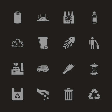 Garbage icons - gray symbol on black background. Simple illustration flat vector icon.