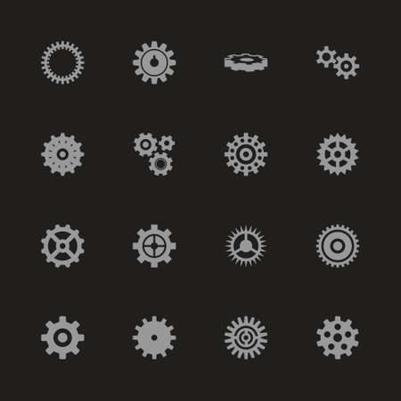 Gear icons - Gray symbol on black background. Simple illustration. Flat Vector Icon.