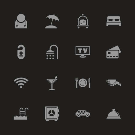 Hotel icons - Gray symbol on black background. Simple illustration. Flat vector icon. Imagens - 95371460