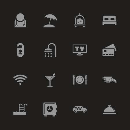 Hotel icons - Gray symbol on black background. Simple illustration. Flat vector icon. Illustration