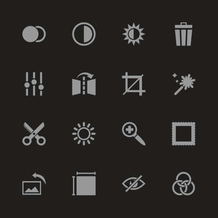 Image editing icons - gray symbol on black background. Simple illustration flat vector icon.