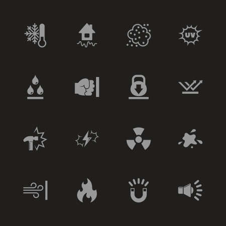 Influence icons - Gray symbol on black background. Simple illustration. Flat Vector Icon.