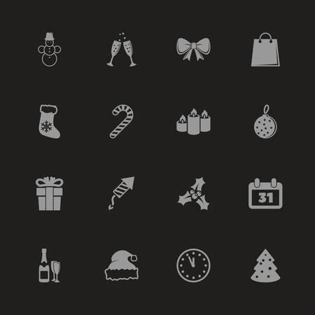 Joyeux Noël et bonne année icônes - symbole gris sur fond noir. Illustration simple. Icône plate vecteur. Banque d'images - 95831724
