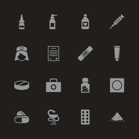 Pharmacy icons - Gray symbol on black background. Simple illustration. Flat Vector Icon. Illustration