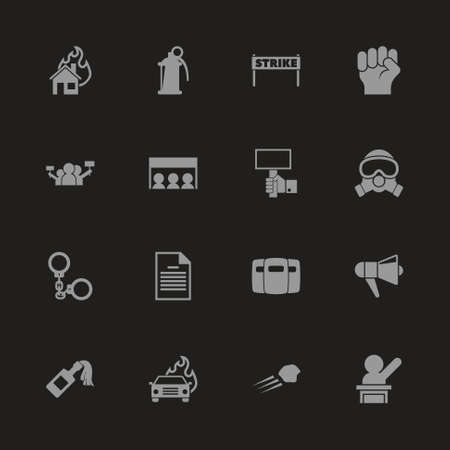 Protest icons - Gray symbol on black background. Simple illustration. Flat Vector Icon. Vettoriali