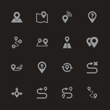 ルート アイコン - 黒の背景に灰色のシンボル。簡単なイラスト。フラット ベクトル アイコン。 写真素材 - 95832136