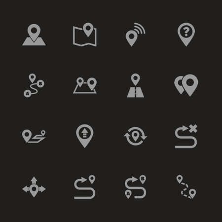 Route icons - Gray symbol on black background. Simple illustration. Flat Vector Icon.